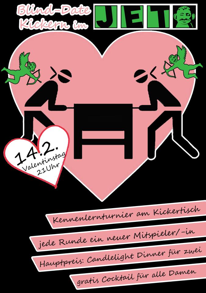 Blinddate-Kickerturnier zum Valentinstag